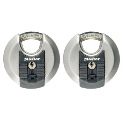 Master Lock M40EURT Excell Stainless Steel Discus 70mm Padlock Keyed Alike x 2